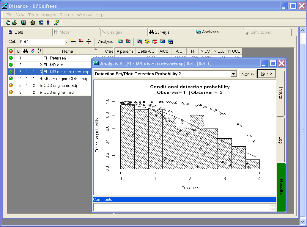 A screenshot of Distance 7.1, showing some output from the mark recapture distance sampling analysis engine.