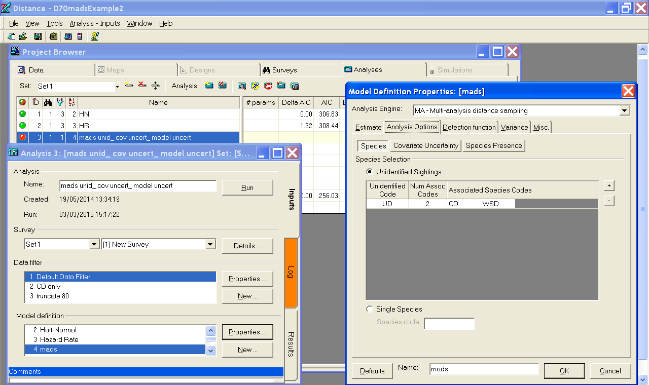 A screenshot of Distance 7.1, showing the multi-analysis engine.