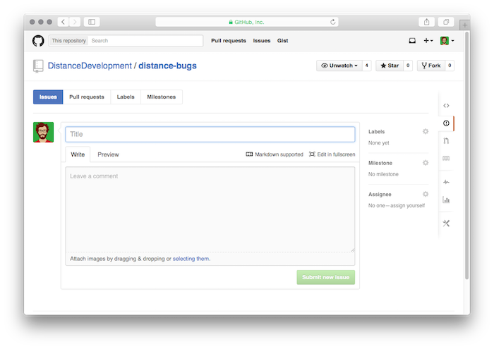 Github Issues submission page