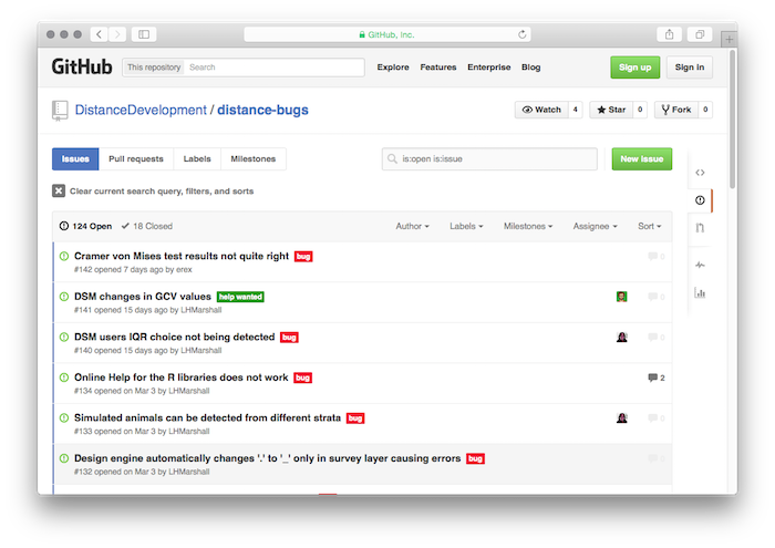 The Github Issues page for Distance