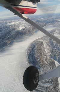 View from a small plane during a survey over Greenland. Photo by Tiago Marques.